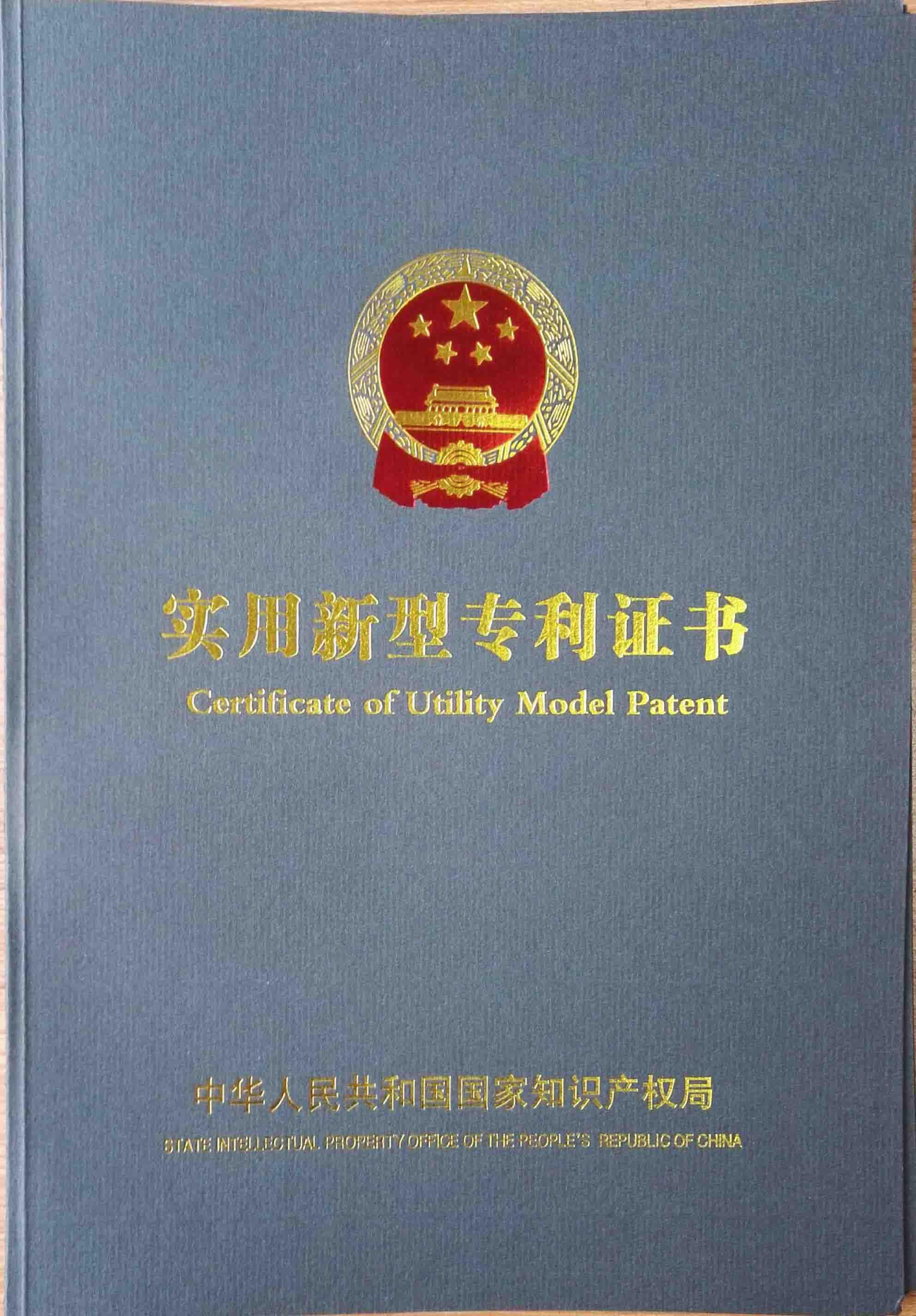 龙8国际登录专利证书